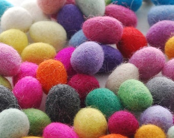 100% Wool Felt Eggs - 60 Count - approx 18mm x 28mm - Assorted Colors