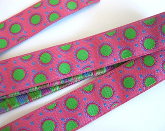 2 yards DOTTY DOTS fabric Jacquard trim in green,red, turquoise on bubblegum pink. 7/8 inch wide. 970-C