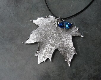 Real Leaf Pendant Necklace - Sugar Maple - Sterling Silver - Large Swarovski Crystal
