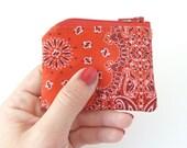 tiny coin purse zipper pouch. red bandana fabric change purse. small gift idea. teacher gift. toddler little girl gift idea