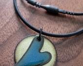 Heart Jewelry Necklace, Heart Pendant, Enamel Heart Jewelry, Blue and Green Copper Enamel Gift for Her