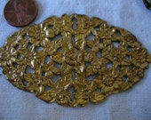 """Large Vintage Filigree, 1960s Oval Floral Brass Stamping, Jewelry Finding or Embellishment, 79x45mm (appr. 3.1 x 1.7""""), 1 piece (Gbin)"""