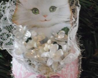 Dresden Christmas Ornament - Pretty Kitty