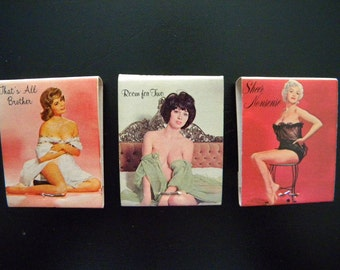 Three Vintage Pin Up Girl Matchbooks
