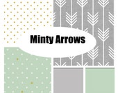 Custom Crib Bedding-Minty Arrows