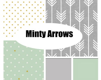 Custom Crib Bedding-Minty Arrows