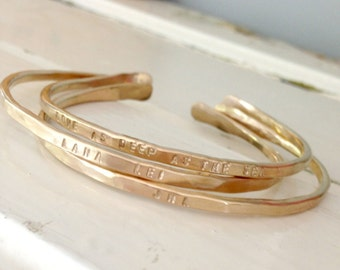 Three Personalized whisper cuffs - choice of Rose Gold filled - Gold filled or sterling silver