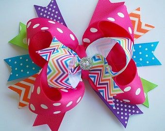 GLAM over the top layered BRIGHT and BEAUTIFUL hair bow clip