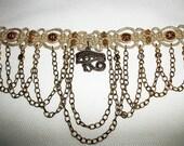 Egyptian Eye of Ra - Lacey Hemp Choker with Brass and Crystal - Ancient Style Hemp Necklace - Egyptian Hemp Jewelry