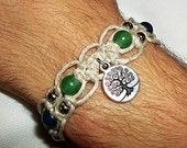 Tree of Life Hemp with Gemstone Beads - Choker Necklace or Bracelet Anklet - Natural Hemp Jewelry with Aventurine Sodalite Amethyst