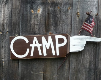 Primitive Folk Art ...CAMP...Sign