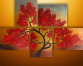 Abstract Painting,Landscape Painting, Acrylic painting, Wall Art, Wall Decor, Tree Painting, Painting, Large Painting, Red, Made To Order