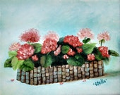 Geranium Basket Pink and Red Canvas Oils CAAT OFG