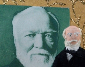 Andrew Carnegie Doll Miniature Art Collectible HIstorical Character