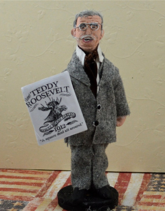 Doll Miniature Teddy Roosevelt Presidential Art Collectible