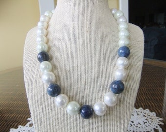 Pearl and Lapis Beaded Wedding Necklace