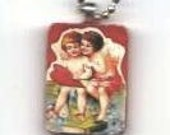 Victorian vintage image sweetheart collage wooden pendant.