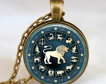 Leo Zodiac pendant , leo zodiac necklace , zodiac astrology  jewelry art gift for her ,gift for him