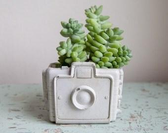 Camera Planter - cement retro home decor, hipster chic, garden succulents