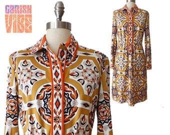 Vintage Print Dress | Mr Dino Medallion Tapestry Border Print Knit Midi Shirt Dress 1970s 70s