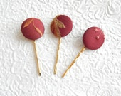 3 wine hair-pins, embroidered hairpins, fabric hairpins, 1 1/8 inch hairpins, hair accessory, womens accessory