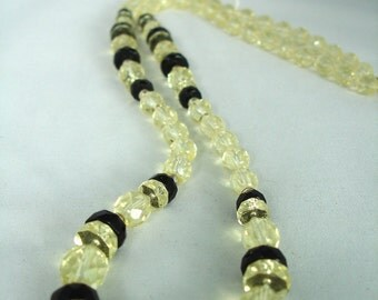Citrine Light Yellow and Black Necklace - Glass Facetted Beads - Black Disc Spacers - Long Necklace - Gift Idea - Summer Necklace