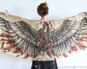 Wings scarf, bohemian bird feathers shawl, earthy, hand painted, digital print, sarong, perfect Valentine gifts.