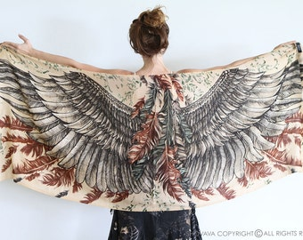 Bohemian Scarf, Anniversary Gift, Wings Scarf, Cotton Scarf, Feathers Scarf, Thank You Gift, Summer Wrap, Sarong Cover Up, Beach Shawl