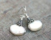 White Freshwater Oval Pearl Wire Wrapped Sterling Silver Handmade Earrings, Pearl Jewelry, June Birthstone