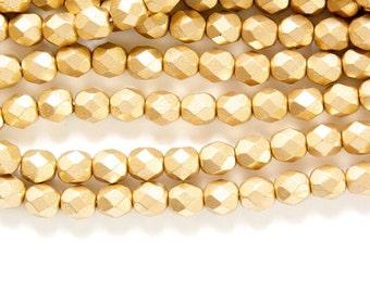 Czech Matte Gold Faceted Glass Beads 6mm (30) czh016G