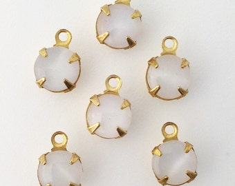 White Moonglow Glass Stone 1 Loop Brass Setting Drops 7mm (6) rnd001DD