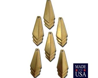 Raw Brass Layered Triangle Pendant Charm Drop SM (6) mtl065J