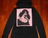 Frank Zappa applique Black Fleece hooded jacket with zip and toggle front ladies L (snug)