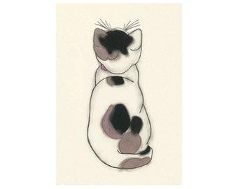 Cat art illustration tortoiseshell cat   - 8.3x11.7 print - 4 for 3 SALE