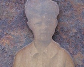 Vintage Photo of Little Boy Cut Out and Mounted on Wood - Handmade - C. 1930s