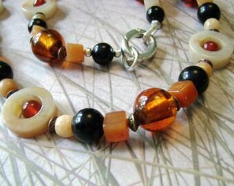 Peach Ice Tea carnelian aventurine jasper long necklace