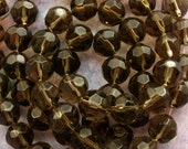 """Grey Faceted Glass Round Beads 10mm - 32 Beads Per 12"""" Strand Slate Grey Fire Polished (CBD0031)"""