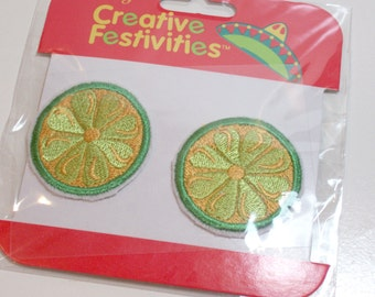 Fruit Patch, Lime Slice Embroidered Iron on Patches Set of 6 Pieces 1 1/2 inch diameter