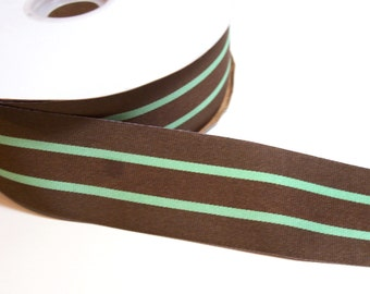 Mint Green and Brown Striped Grosgrain Ribbon 1 1/2 inches wide x 6 yards SECOND QUALITY FLAWED, Offray Broadway Ribbon