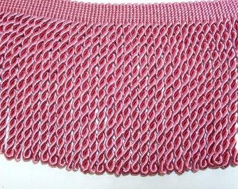Wide Pink Fringe, Pink Rose Bullion Fringe Sewing Trim 5 1/2 inches wide x 1 yard