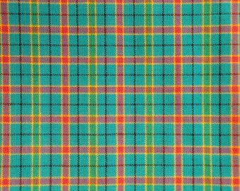 Homespun Fabric | Cotton Fabric | Plaid Fabric | 1 Yard |  Aqua Color Plaid Fabric | Woven Homespun Fabric | 34 x 44