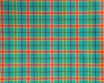 Homespun Fabric | Cotton Fabric | Plaid Fabric | 1 Yard |  Aqua Color Plaid Fabric | Cotton Fabric By The Yard | Woven Homespun Fabric