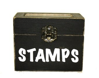 Small Wood Box With Lid Trinket Box STAMPS Black Distressed