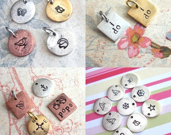 WHOLESALE QTY 10 Mini Disc Charms  .. Customize Design .. Animals, Symbols, Monograms, Initials, Little, Tiny. silver, copper or gold finish
