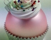 Cupcake Ornament - Matte Light Pink