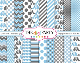 Elephant Baby boy blue and Gray Mega Pack Digital Paper scrapbook instant download pattern background baby shower commercial use