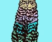 Cat Art Print colorful graphic teal