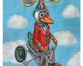 Digital Print Vintage Toy Duck Surreal Colorful Art Red