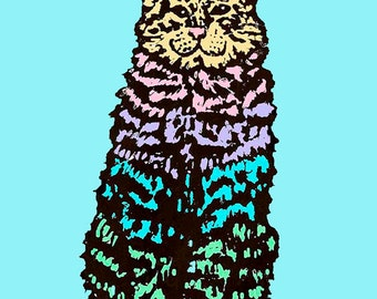Cat Art Print colorful graphic teal