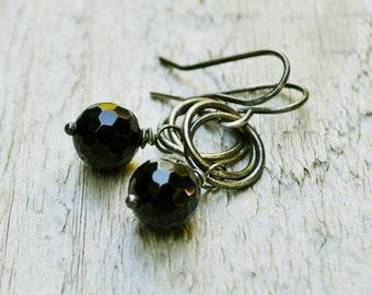 Black Onyx Dangle, Oxidized Sterling Silver, Black Onyx Jewelry, Black & Silver Earring, Gemstone Jewelry, Black Earrings Gift Under 30